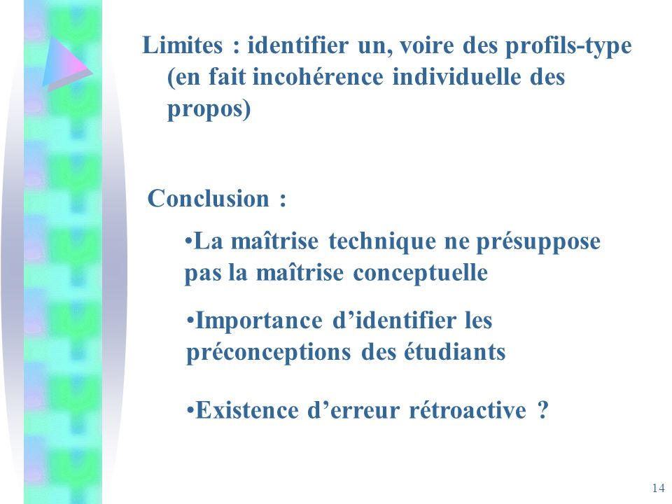 14 Limites : identifier un, voire des profils-type (en fait incohérence individuelle des propos) Conclusion : La maîtrise technique ne présuppose pas la maîtrise conceptuelle Importance didentifier les préconceptions des étudiants Existence derreur rétroactive