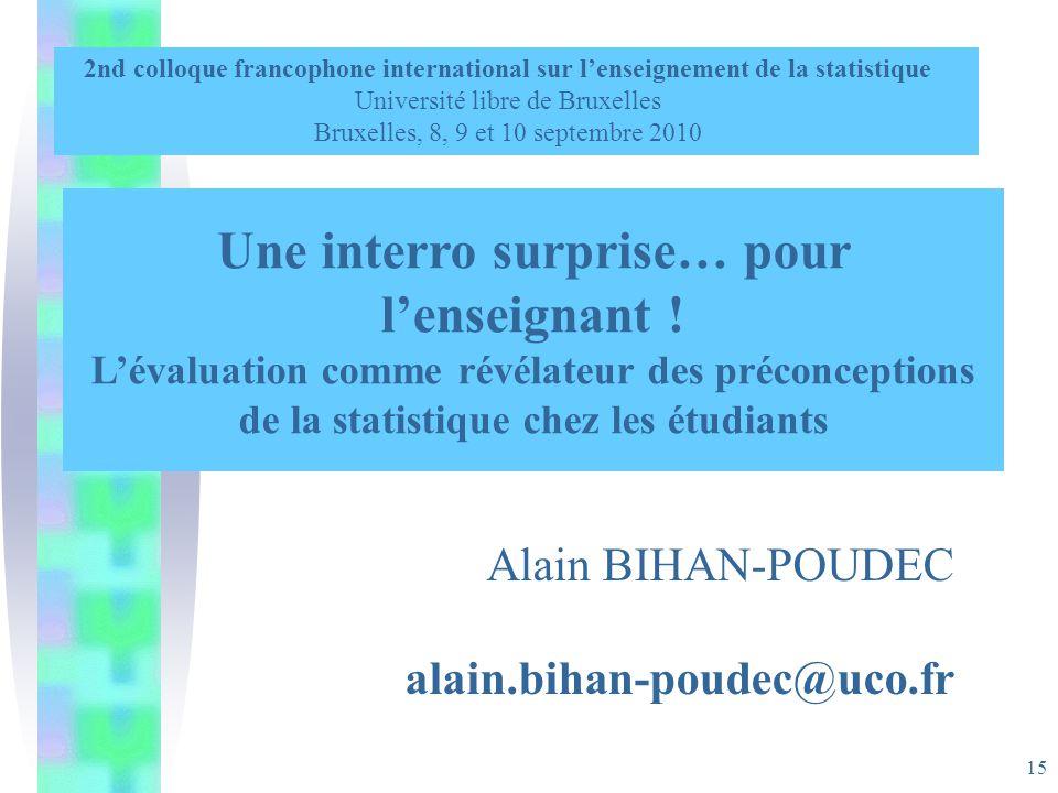 15 Une interro surprise… pour lenseignant ! Lévaluation comme révélateur des préconceptions de la statistique chez les étudiants 2nd colloque francoph