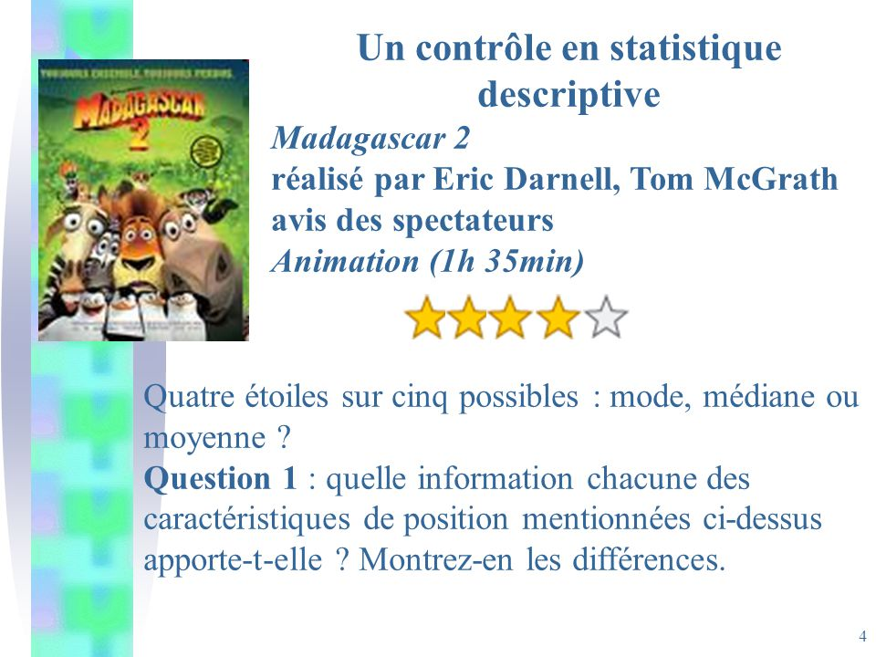 4 Un contrôle en statistique descriptive Madagascar 2 réalisé par Eric Darnell, Tom McGrath avis des spectateurs Animation (1h 35min) Quatre étoiles sur cinq possibles : mode, médiane ou moyenne .