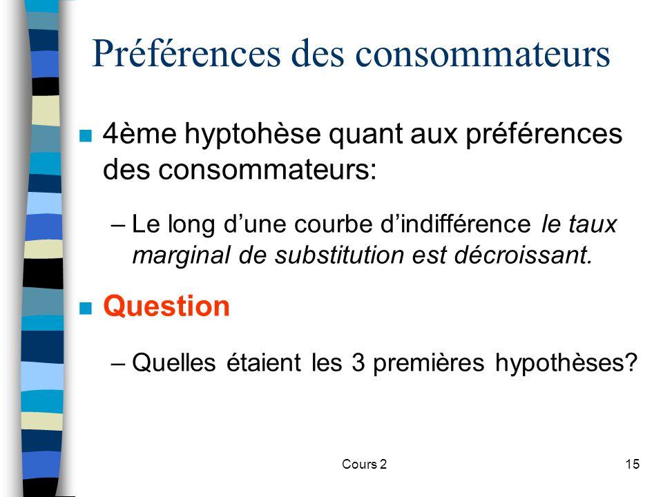 Cours 215 Préférences des consommateurs n 4ème hyptohèse quant aux préférences des consommateurs: –Le long dune courbe dindifférence le taux marginal