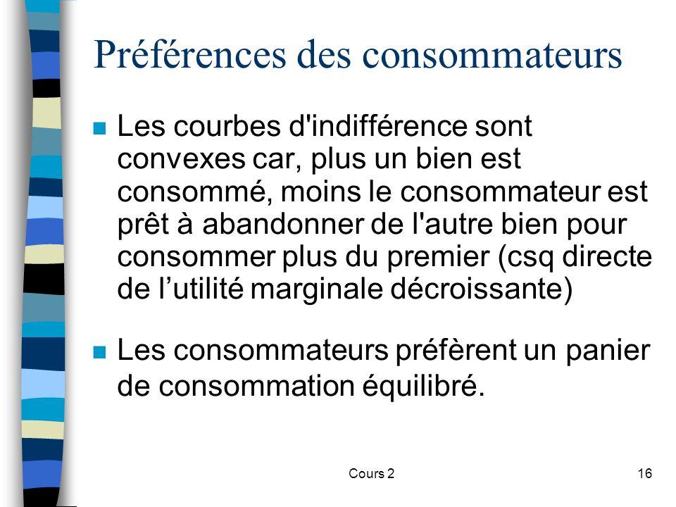 Cours 216 Préférences des consommateurs n Les courbes d'indifférence sont convexes car, plus un bien est consommé, moins le consommateur est prêt à ab