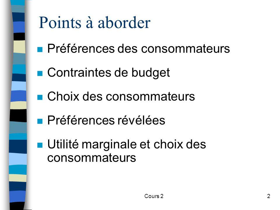 Cours 22 Points à aborder n Préférences des consommateurs n Contraintes de budget n Choix des consommateurs n Préférences révélées n Utilité marginale