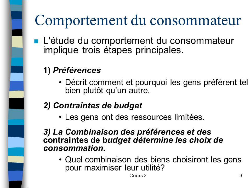 Cours 23 Comportement du consommateur n L'étude du comportement du consommateur implique trois étapes principales. 1) Préférences Décrit comment et po