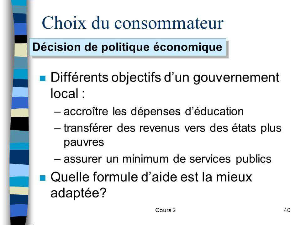 Cours 240 Choix du consommateur n Différents objectifs dun gouvernement local : –accroître les dépenses déducation –transférer des revenus vers des ét