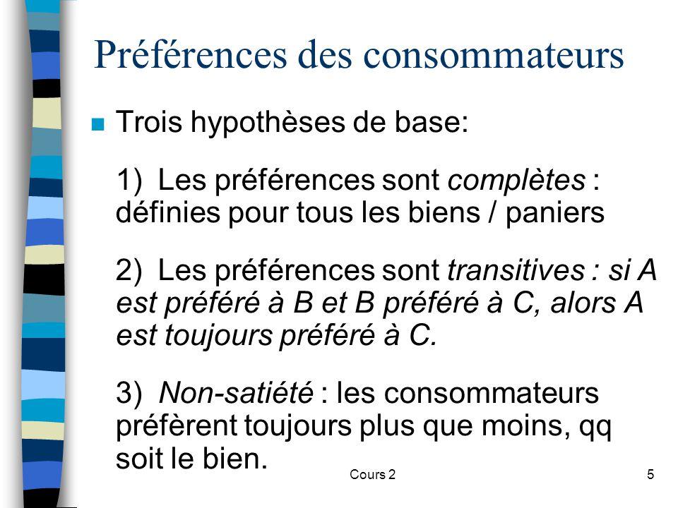 Cours 25 Préférences des consommateurs n Trois hypothèses de base: 1) Les préférences sont complètes : définies pour tous les biens / paniers 2) Les p