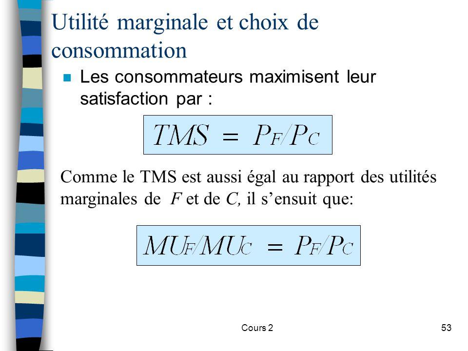 Cours 253 n Les consommateurs maximisent leur satisfaction par : Utilité marginale et choix de consommation Comme le TMS est aussi égal au rapport des