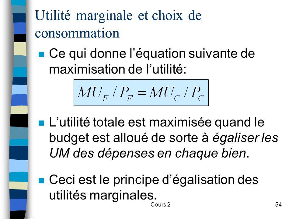 Cours 254 n Ce qui donne léquation suivante de maximisation de lutilité: n Lutilité totale est maximisée quand le budget est alloué de sorte à égalise