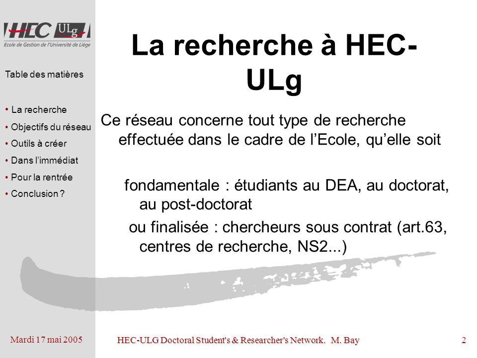 Mardi 17 mai 2005 HEC-ULG Doctoral Student's & Researcher's Network. M. Bay2 La recherche à HEC- ULg Ce réseau concerne tout type de recherche effectu