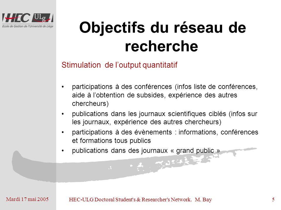 Mardi 17 mai 2005 HEC-ULG Doctoral Student's & Researcher's Network. M. Bay5 Objectifs du réseau de recherche Stimulation de loutput quantitatif parti
