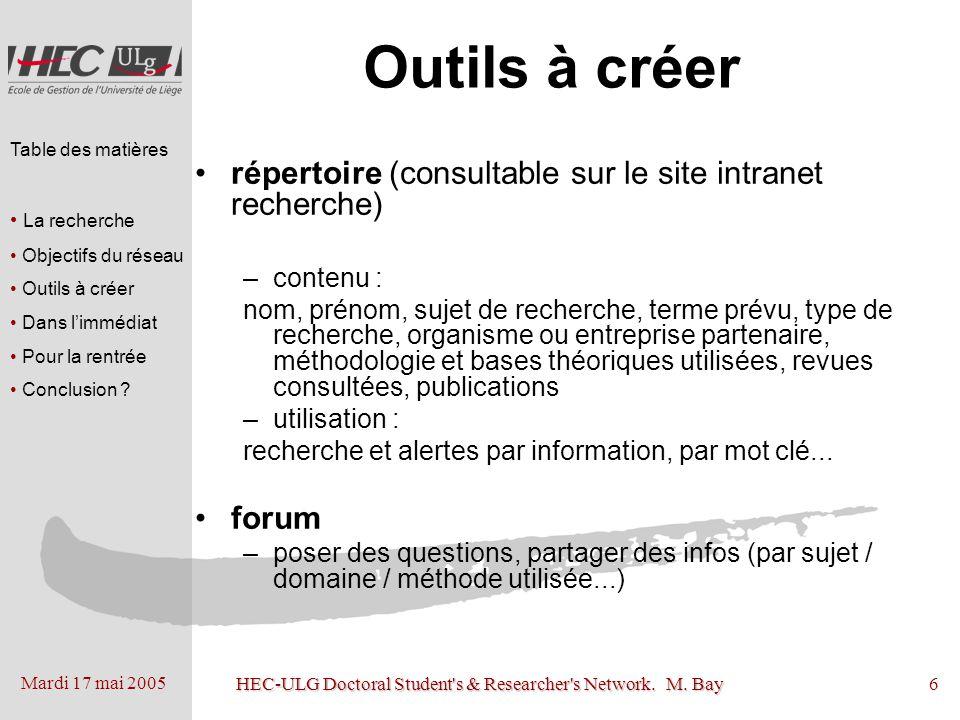 Mardi 17 mai 2005 HEC-ULG Doctoral Student's & Researcher's Network. M. Bay6 Outils à créer répertoire (consultable sur le site intranet recherche) –c