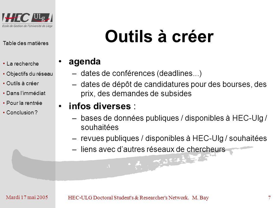 Mardi 17 mai 2005 HEC-ULG Doctoral Student's & Researcher's Network. M. Bay7 Outils à créer agenda –dates de conférences (deadlines...) –dates de dépô