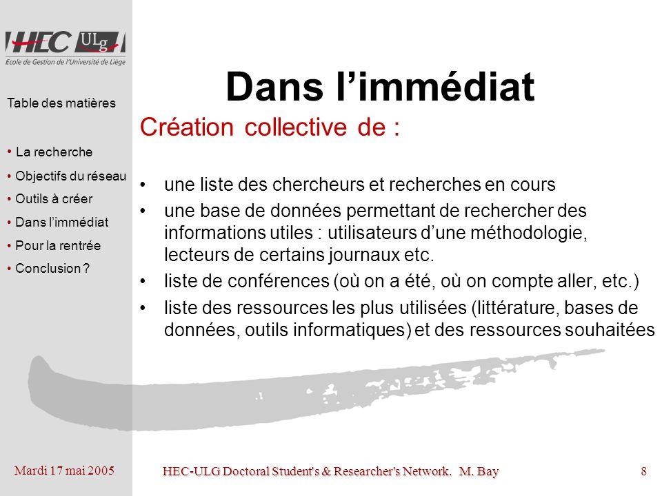 Mardi 17 mai 2005 HEC-ULG Doctoral Student's & Researcher's Network. M. Bay8 Dans limmédiat Création collective de : une liste des chercheurs et reche