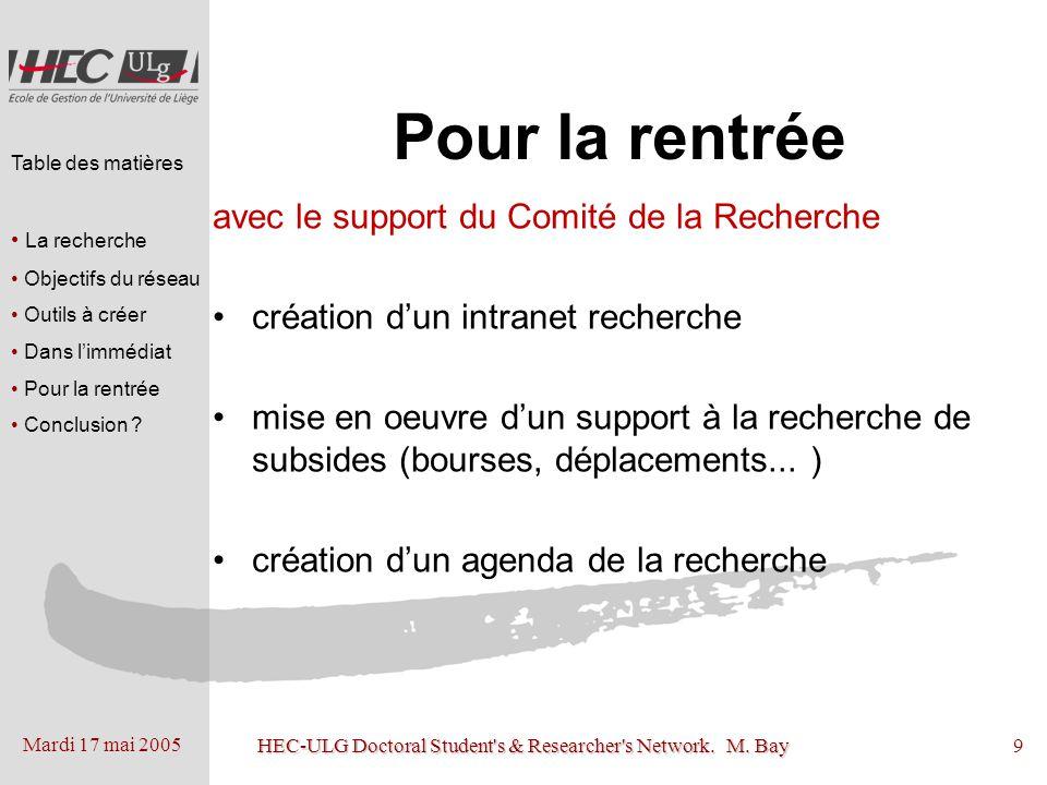 Mardi 17 mai 2005 HEC-ULG Doctoral Student's & Researcher's Network. M. Bay9 Pour la rentrée avec le support du Comité de la Recherche création dun in