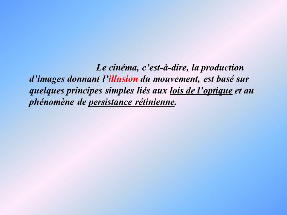 Le cinéma, cest-à-dire, la production dimages donnant lillusion du mouvement, est basé sur quelques principes simples liés aux lois de loptique et au phénomène de persistance rétinienne.