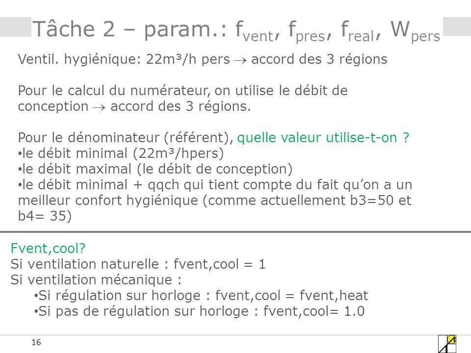 16 Tâche 2 – param.: f vent, f pres, f real, W pers Ventil.