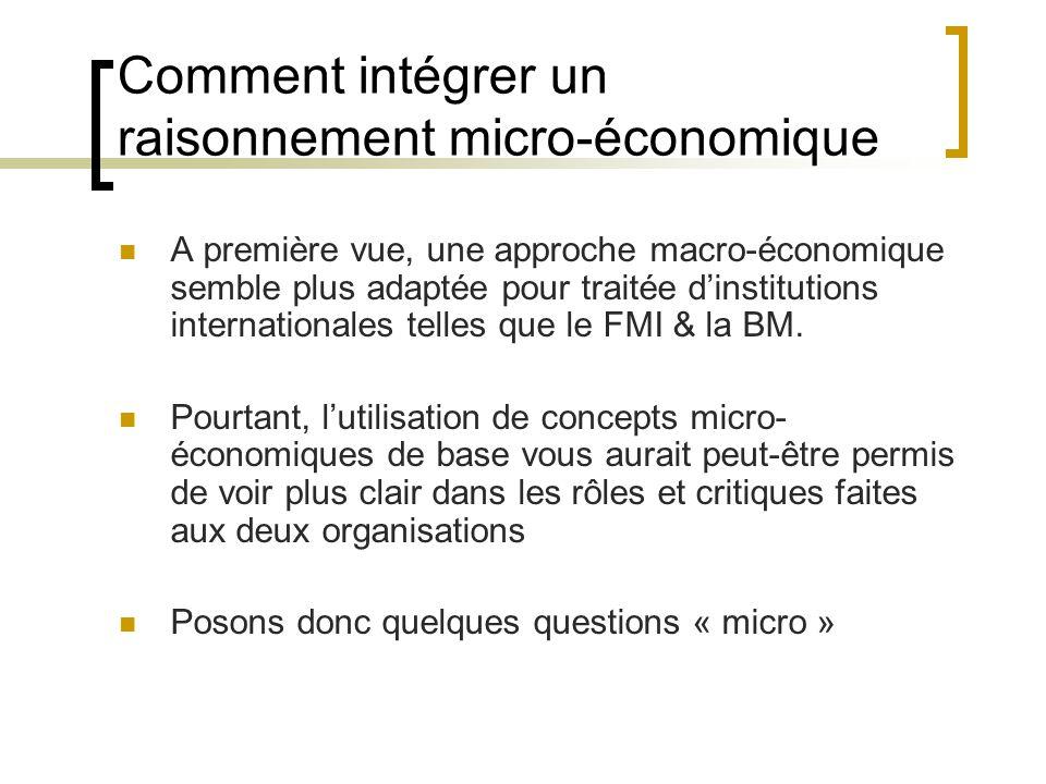 Comment intégrer un raisonnement micro-économique A première vue, une approche macro-économique semble plus adaptée pour traitée dinstitutions internationales telles que le FMI & la BM.