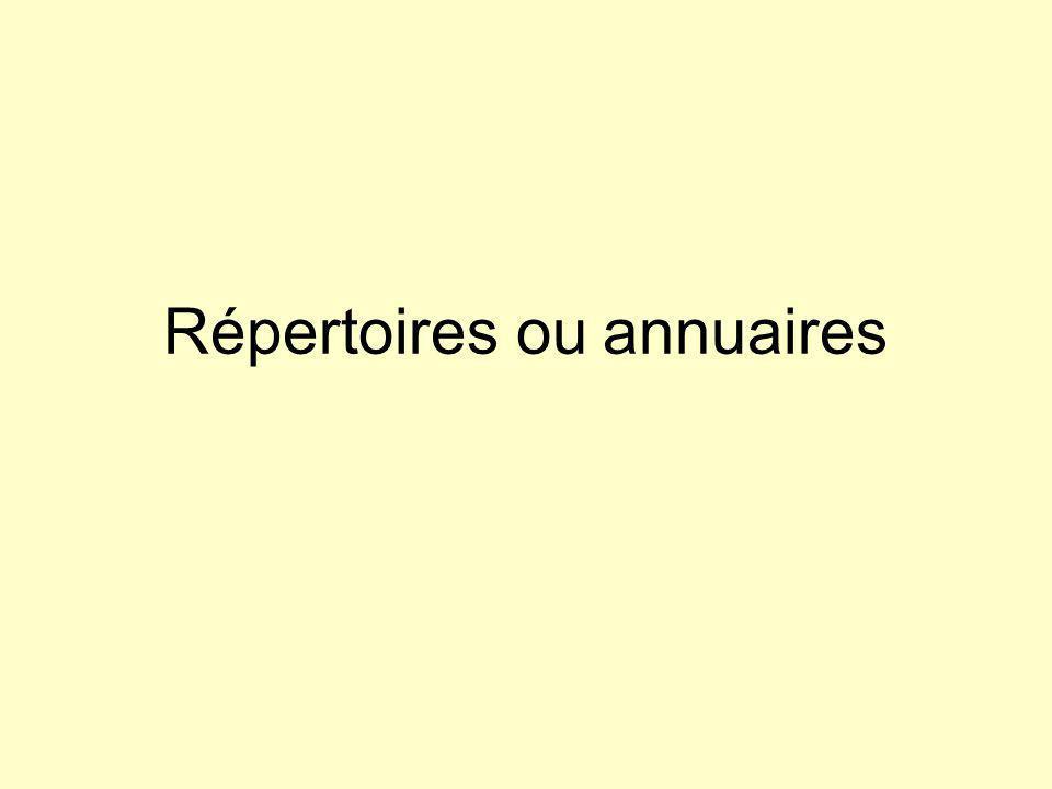 Répertoires ou annuaires