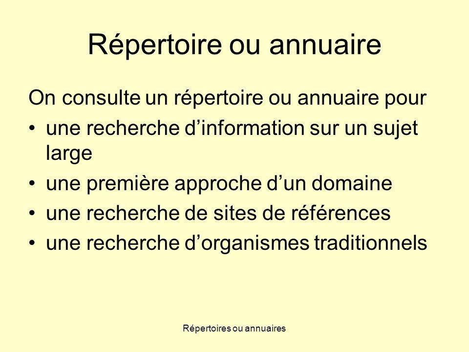 Répertoires ou annuaires Répertoire ou annuaire On consulte un répertoire ou annuaire pour une recherche dinformation sur un sujet large une première approche dun domaine une recherche de sites de références une recherche dorganismes traditionnels