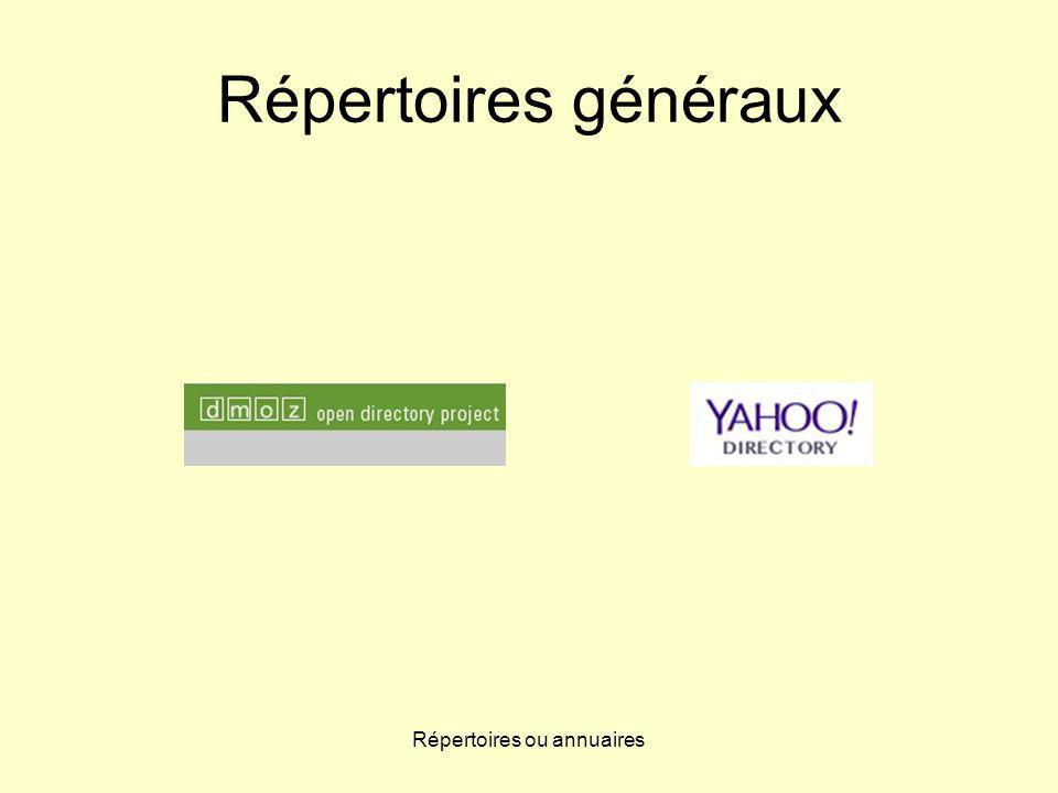 Répertoires ou annuaires Répertoires généraux