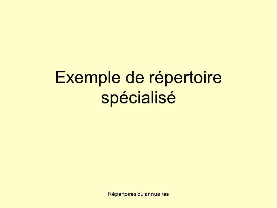 Répertoires ou annuaires Exemple de répertoire spécialisé