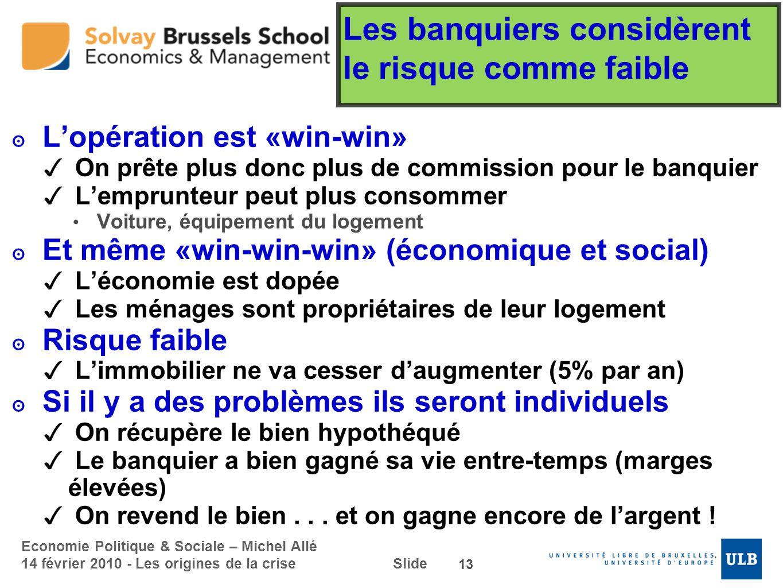 Economie Politique & Sociale – Michel Allé 14 février 2010 - Les origines de la crise Slide Les banquiers considèrent le risque comme faible Lopératio