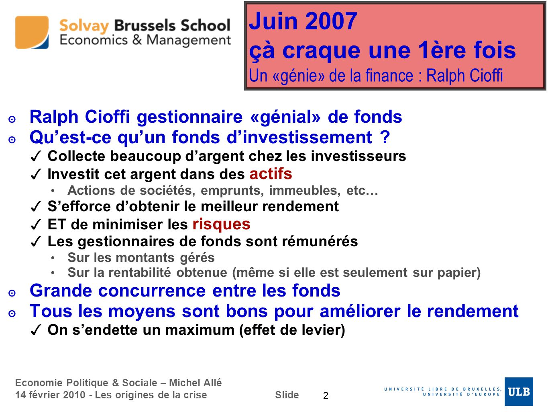 Economie Politique & Sociale – Michel Allé 14 février 2010 - Les origines de la crise Slide Juin 2007 çà craque une 1ère fois Un «génie» de la finance