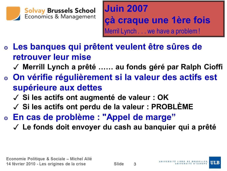 Economie Politique & Sociale – Michel Allé 14 février 2010 - Les origines de la crise Slide Juin 2007 çà craque une 1ère fois Merril Lynch... we have