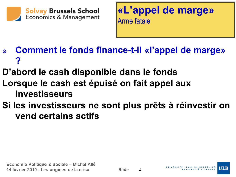 Economie Politique & Sociale – Michel Allé 14 février 2010 - Les origines de la crise Slide «Lappel de marge» Arme fatale Comment le fonds finance-t-i