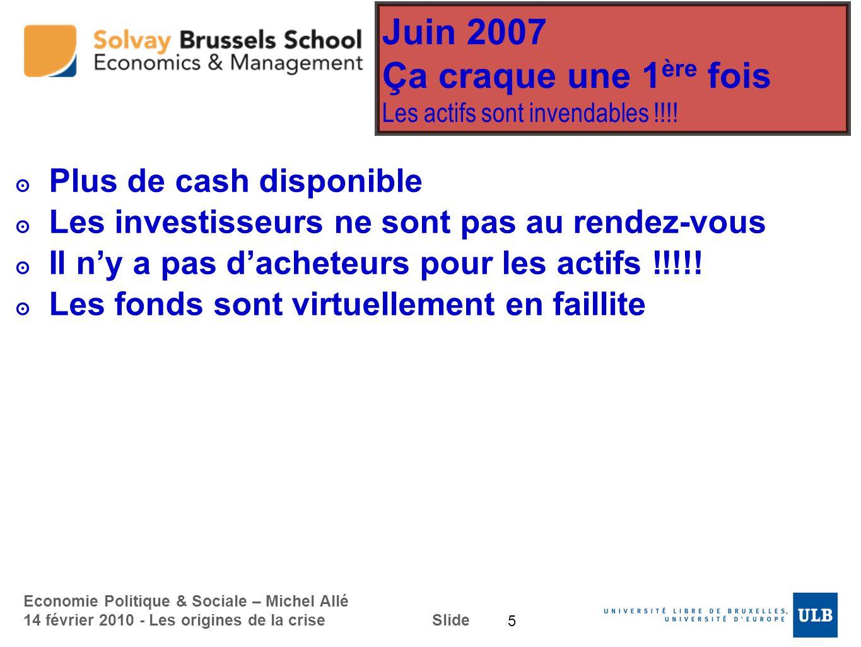 Economie Politique & Sociale – Michel Allé 14 février 2010 - Les origines de la crise Slide Juin 2007 Ça craque une 1 ère fois Les actifs sont invenda