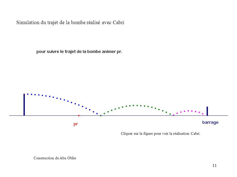 11 Simulation du trajet de la bombe réalisé avec Cabri Construction de Abu Oblie Cliquer sur la figure pour voir la réalisation Cabri.