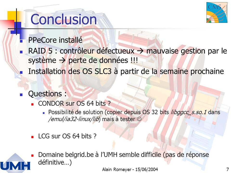 7 Conclusion PPeCore installé RAID 5 : contrôleur défectueux mauvaise gestion par le système perte de données !!.