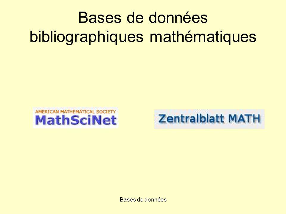 Bases de données Bases de données bibliographiques mathématiques