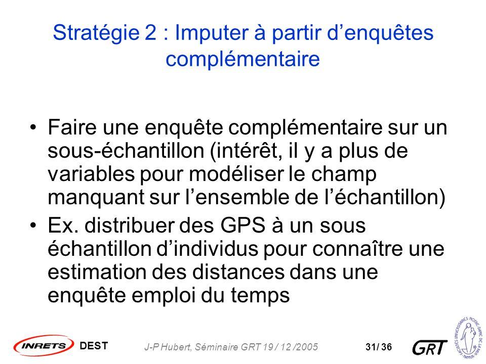 DEST J-P Hubert, Séminaire GRT 19 / 12 /200531/ 36 Stratégie 2 : Imputer à partir denquêtes complémentaire Faire une enquête complémentaire sur un sous-échantillon (intérêt, il y a plus de variables pour modéliser le champ manquant sur lensemble de léchantillon) Ex.
