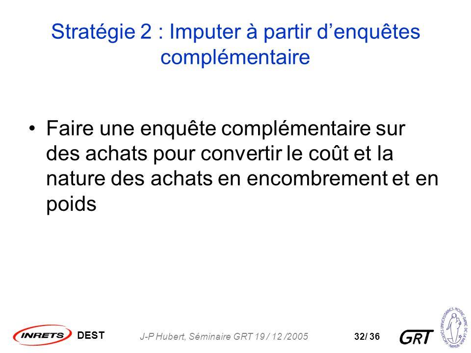 DEST J-P Hubert, Séminaire GRT 19 / 12 /200532/ 36 Stratégie 2 : Imputer à partir denquêtes complémentaire Faire une enquête complémentaire sur des achats pour convertir le coût et la nature des achats en encombrement et en poids