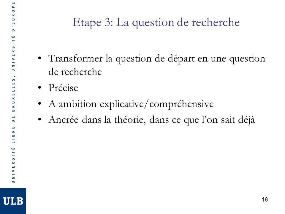 16 Etape 3: La question de recherche Transformer la question de départ en une question de recherche Précise A ambition explicative/compréhensive Ancré