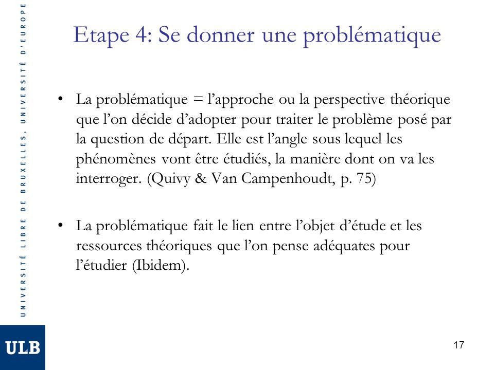 17 Etape 4: Se donner une problématique La problématique = lapproche ou la perspective théorique que lon décide dadopter pour traiter le problème posé