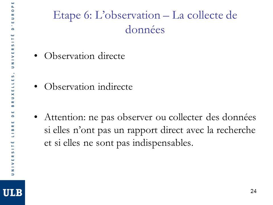 24 Etape 6: Lobservation – La collecte de données Observation directe Observation indirecte Attention: ne pas observer ou collecter des données si ell