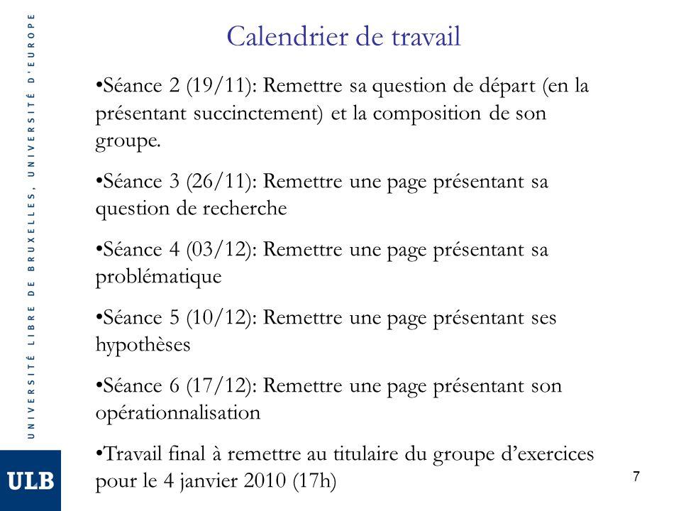 8 Contenu des séances dexercices Temps 1 : 2 groupes présentent leur page à remettre (sur la question de recherche, la problématique, etc.