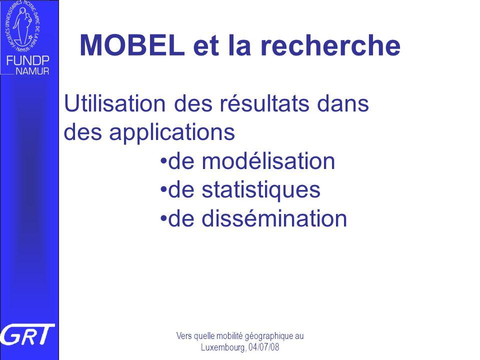 MOBEL et la recherche Utilisation des résultats dans des applications de modélisation de statistiques de dissémination