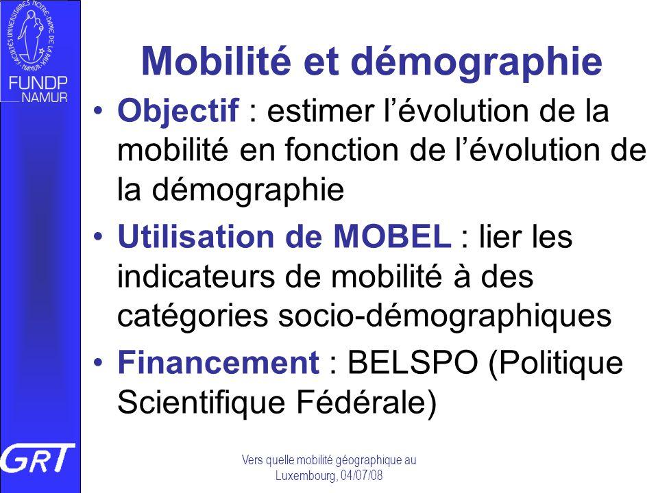Vers quelle mobilité géographique au Luxembourg, 04/07/08 Mobilité et démographie Objectif : estimer lévolution de la mobilité en fonction de lévoluti