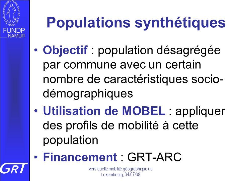 Populations synthétiques Objectif : population désagrégée par commune avec un certain nombre de caractéristiques socio- démographiques Utilisation de