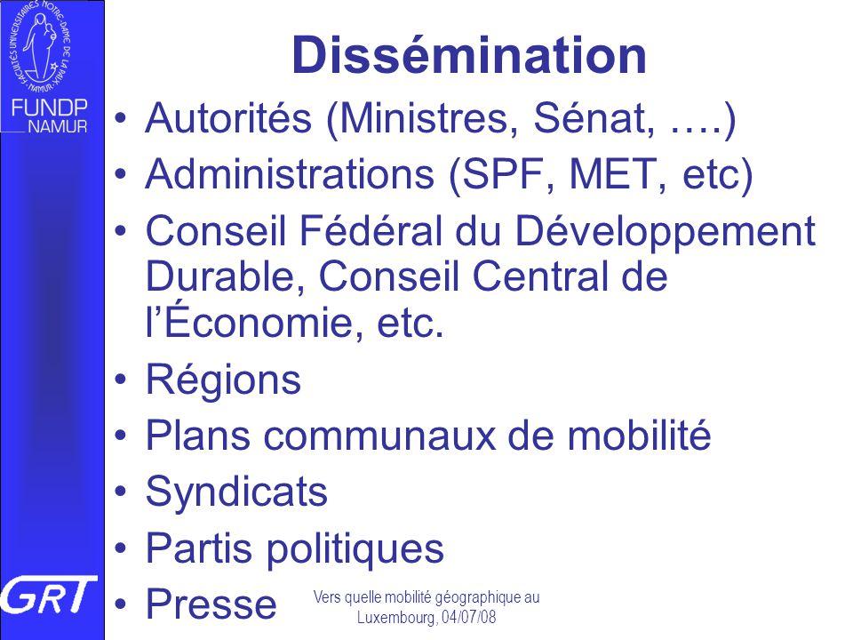 Vers quelle mobilité géographique au Luxembourg, 04/07/08 Dissémination Autorités (Ministres, Sénat, ….) Administrations (SPF, MET, etc) Conseil Fédér