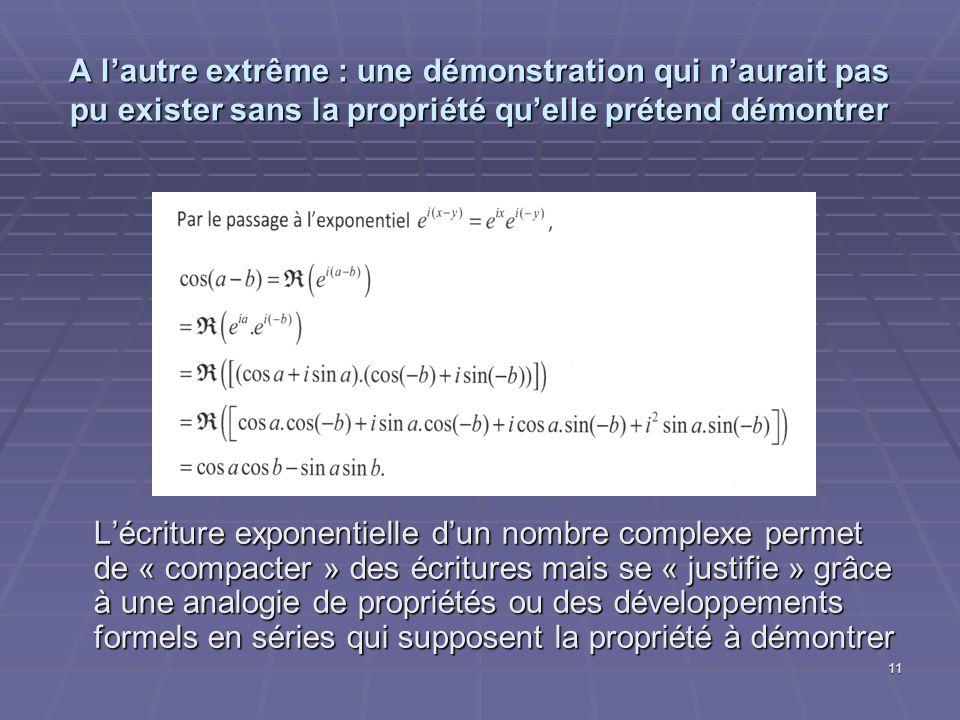 11 A lautre extrême : une démonstration qui naurait pas pu exister sans la propriété quelle prétend démontrer Lécriture exponentielle dun nombre compl