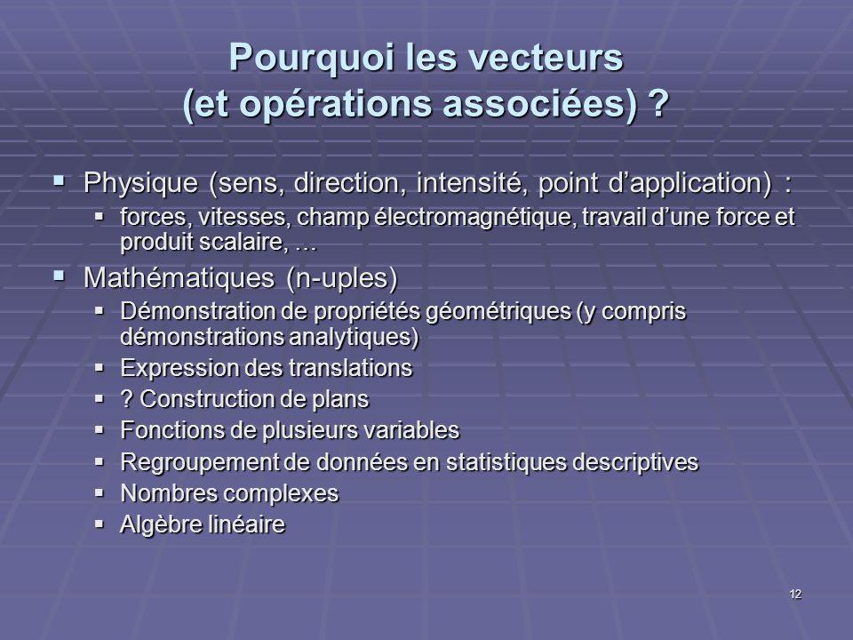 12 Pourquoi les vecteurs (et opérations associées) ? Physique (sens, direction, intensité, point dapplication) : Physique (sens, direction, intensité,