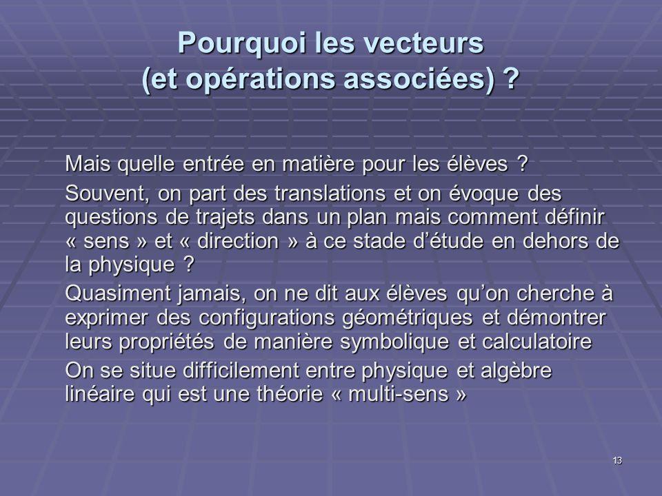 13 Pourquoi les vecteurs (et opérations associées) ? Mais quelle entrée en matière pour les élèves ? Souvent, on part des translations et on évoque de