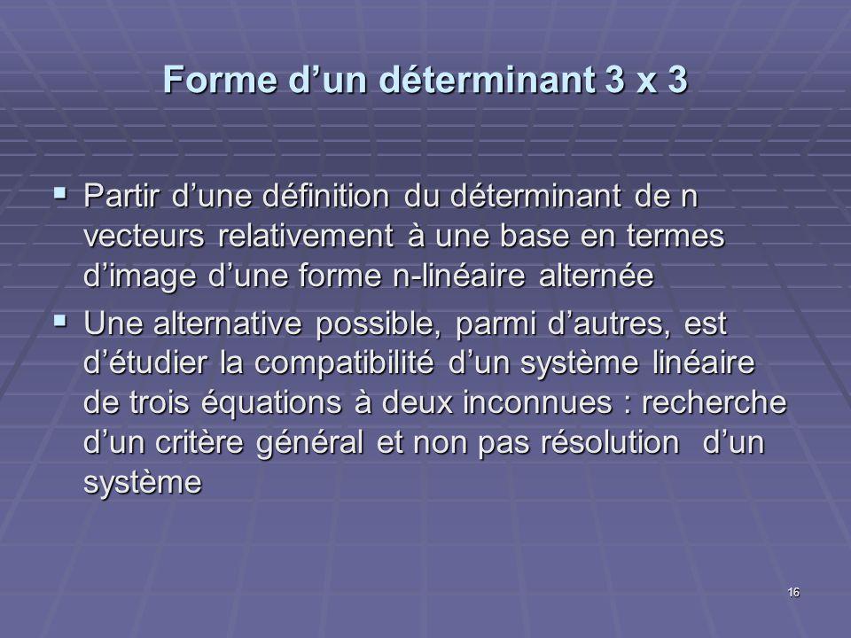 16 Forme dun déterminant 3 x 3 Partir dune définition du déterminant de n vecteurs relativement à une base en termes dimage dune forme n-linéaire alte