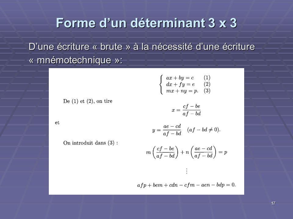 17 Forme dun déterminant 3 x 3 Dune écriture « brute » à la nécessité dune écriture « mnémotechnique »: