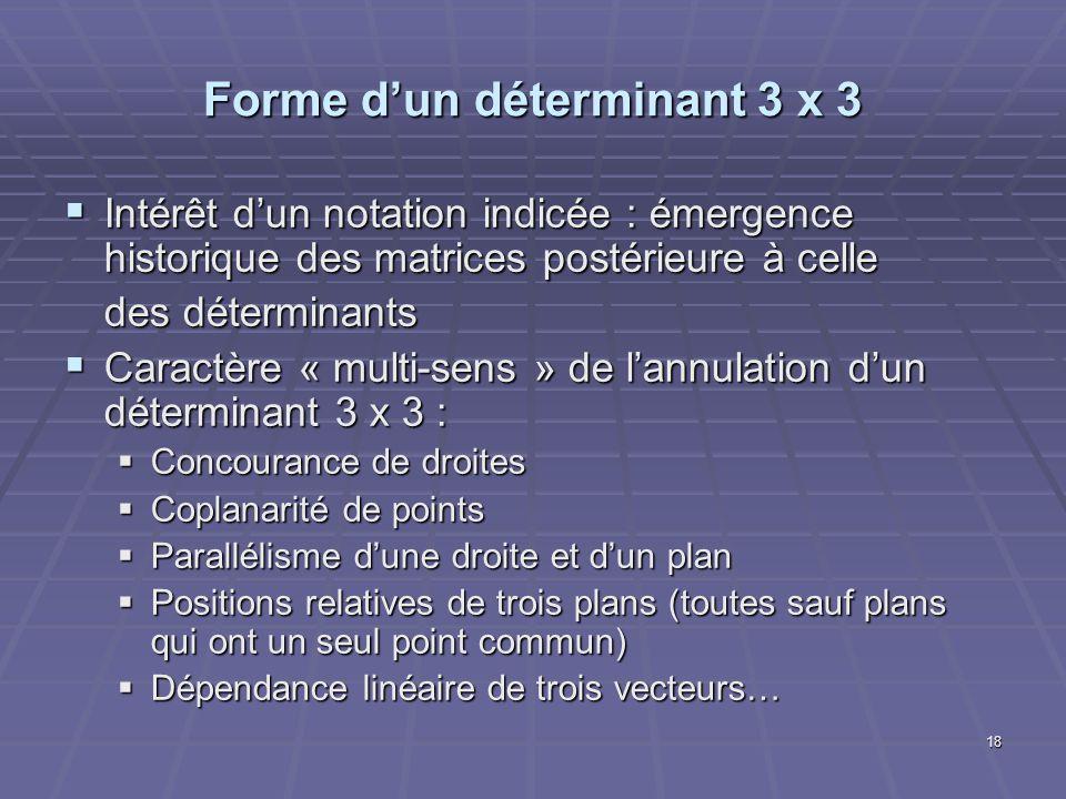 18 Forme dun déterminant 3 x 3 Intérêt dun notation indicée : émergence historique des matrices postérieure à celle Intérêt dun notation indicée : éme