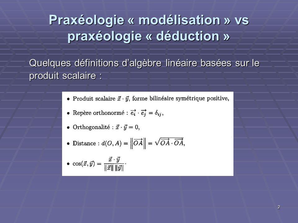 3 Praxéologie « modélisation » vs praxéologie « déduction » Cette subordination des concepts à celui de produit scalaire permet de déduire très facilement des théorèmes fondamentaux de géométrie ou de trigonométrie.