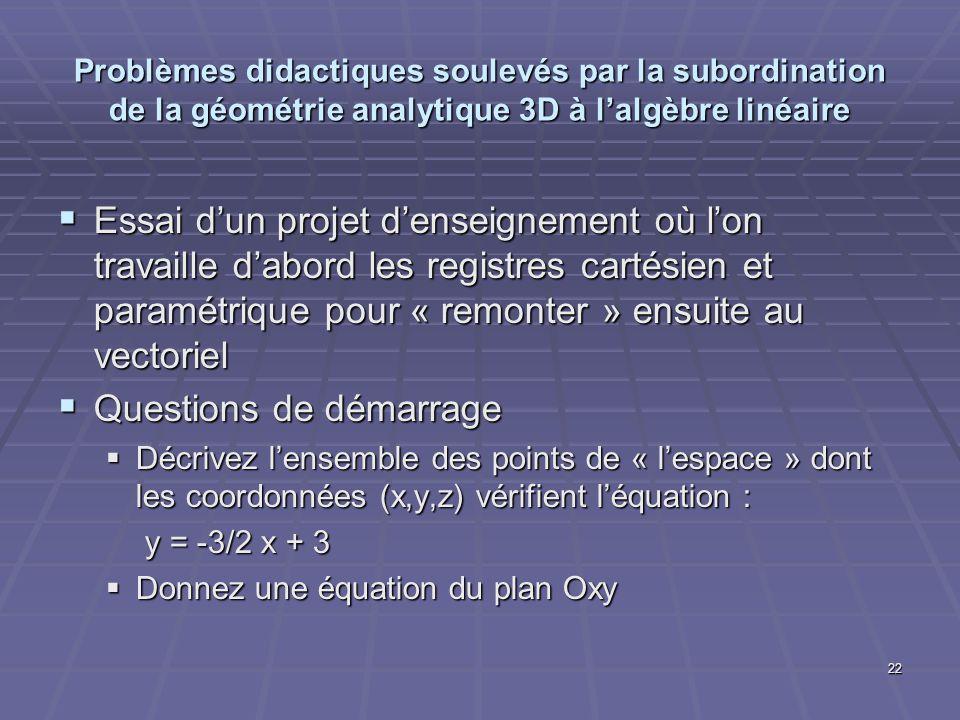 22 Problèmes didactiques soulevés par la subordination de la géométrie analytique 3D à lalgèbre linéaire Essai dun projet denseignement où lon travail
